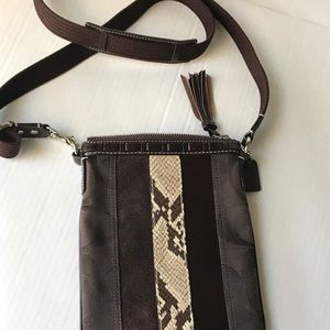 Coach brown suede small crossbody bag EUC